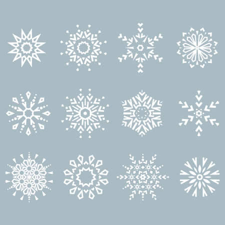 Snowflakes icon collection. Graphic modern blue ornament. Stok Fotoğraf