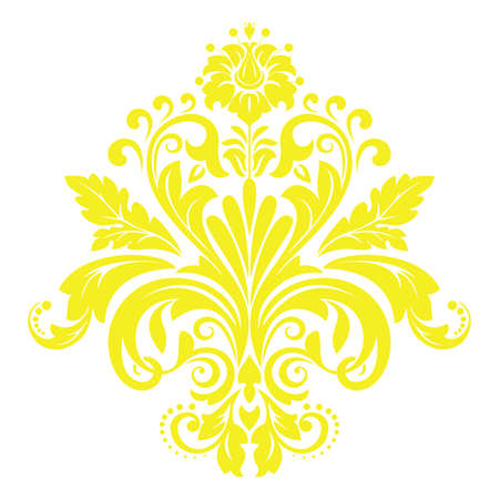 Damask graphic ornament. Floral design element. Yellow vector pattern  イラスト・ベクター素材