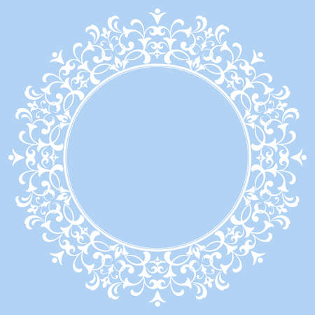 Decorative frame Elegant vector element for design in Eastern style, place for text. Floral blue border. Lace illustration for invitations and greeting cards