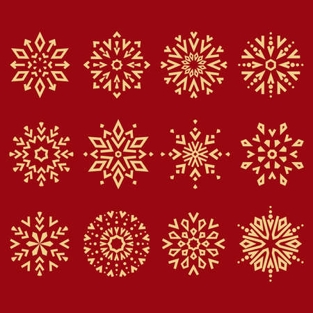 Snowflakes icon collection. Graphic modern gold and red ornament