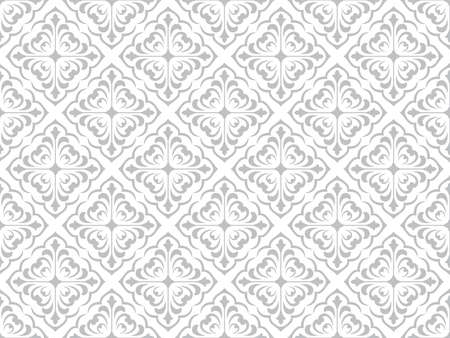 Floral pattern. Vintage wallpaper in the Baroque style. Seamless vector background. White and grey ornament for fabric, wallpaper, packaging. Ornate Damask flower ornament. 일러스트