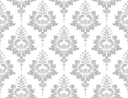 Tapeta w stylu barokowym. Bezszwowe tło. Biały i szary kwiatowy ornament. Wzór graficzny na tkaninę, tapetę, opakowanie. Kwiecisty ornament kwiat adamaszku. Ilustracje wektorowe
