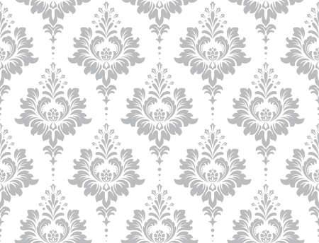 Wallpaper in the style of Baroque. Seamless vector background. White and grey floral ornament. Graphic pattern for fabric, wallpaper, packaging. Ornate Damask flower ornament. Vektorové ilustrace