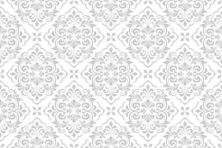 Wallpaper in the style of Baroque. Seamless vector background. White and grey floral ornament. Graphic pattern for fabric, wallpaper, packaging. Ornate Damask flower ornament. Standard-Bild - 133453446