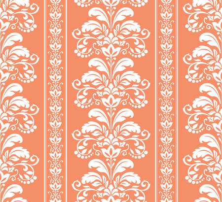 Wallpaper in the style of Baroque. Seamless vector background. White and pink floral ornament. Graphic pattern for fabric, wallpaper, packaging. Ornate Damask flower ornament