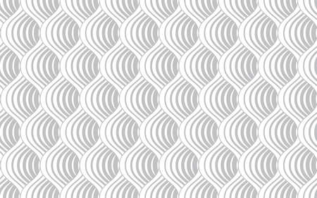 The geometric pattern with wavy lines. Seamless vector background. White and grey texture. Simple lattice graphic design. Иллюстрация