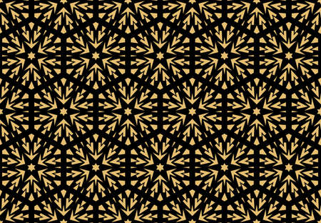 Abstract geometric pattern with lines, snowflakes. A seamless vector background. Gold and black texture. Graphic modern pattern