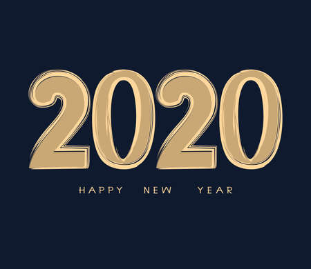 New Year vector illustration. 2020 year. Simple design of gold numbers on a dark blue background. Иллюстрация