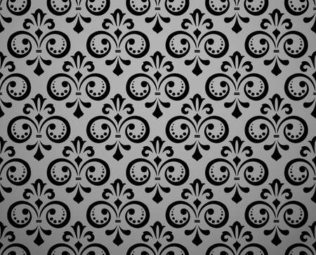 Wallpaper in the style of Baroque. Seamless vector background. Black floral ornament. Graphic pattern for fabric, wallpaper, packaging. Ornate Damask flower ornament Иллюстрация