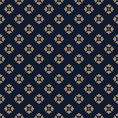 Flower geometric pattern. Seamless vector background. Gold and dark blue ornament. Ornament for fabric, wallpaper, packaging. Decorative print