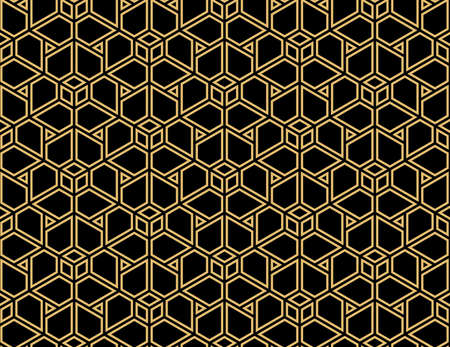 Abstract geometric pattern. A seamless vector background. Black and gold ornament. Graphic modern pattern. Simple lattice graphic design