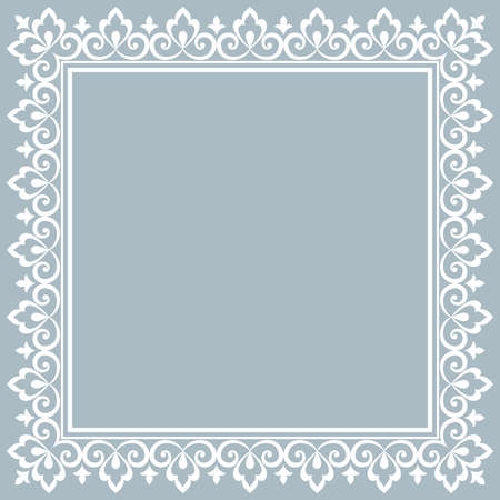 Decorative frame Elegant vector element for design in Eastern style, place for text. Floral blue border. Lace illustration for invitations and greeting cards Ilustração Vetorial