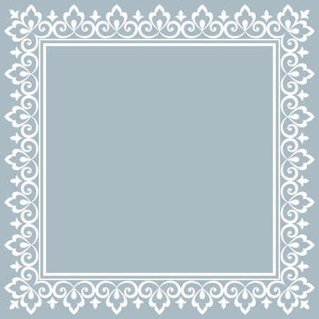 Dekorativer Rahmen Elegantes Vektorelement für Design im östlichen Stil, Platz für Text. Blumenblauer Rand. Spitzenillustration für Einladungen und Grußkarten Vektorgrafik