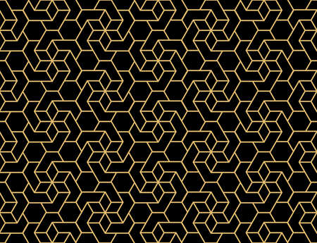 The geometric pattern with lines. Seamless vector background. Gold and black texture. Graphic modern pattern. Simple lattice graphic design Иллюстрация