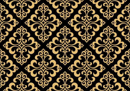 Wallpaper in the style of Baroque. Seamless vector background. Gold and black floral ornament. Graphic pattern for fabric, wallpaper, packaging. Ornate Damask flower ornament Иллюстрация