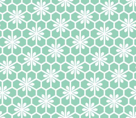 Flower geometric pattern. Seamless vector background. White and green ornament Иллюстрация