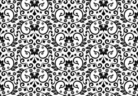 Wallpaper in the style of Baroque. Seamless background. White and black floral ornament. Graphic pattern for fabric, wallpaper, packaging. Ornate Damask flower ornament Фото со стока
