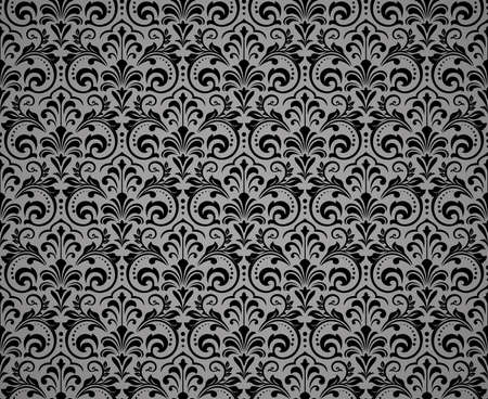 Floral pattern. Vintage wallpaper in the Baroque style. Seamless background. Black ornament for fabric, wallpaper, packaging. Ornate Damask flower ornament