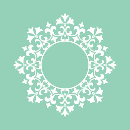 Decorative frame Elegant element for design in Eastern style, place for text. Floral green border. Lace illustration for invitations and greeting cards