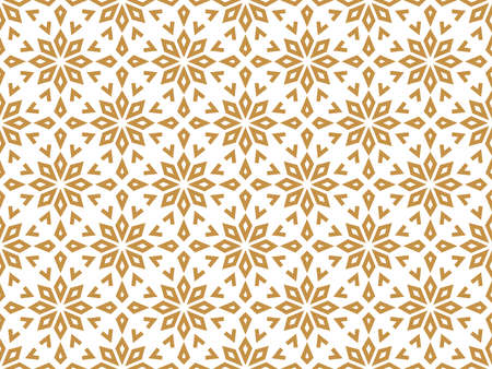 Abstract geometric pattern with lines, snowflakes. A seamless background. White and gold texture. Graphic modern pattern Фото со стока