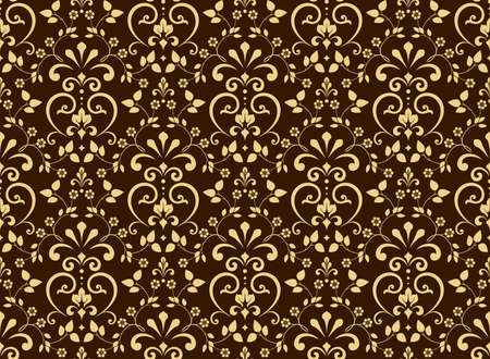 Wallpaper in the style of Baroque. Seamless background. Brown and gold floral ornament. Graphic pattern for fabric, wallpaper, packaging. Ornate Damask flower ornament