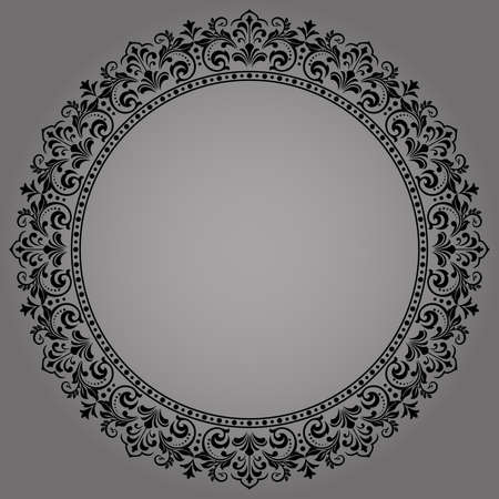 Decorative frame Elegant element for design in Eastern style, place for text. Floral black border. Lace illustration for invitations and greeting cards