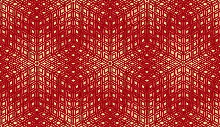 Abstract geometric pattern. Seamless background. Gold and red halftone. Graphic modern pattern. Simple lattice graphic design