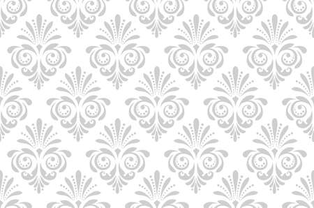 Wallpaper in the style of Baroque. Seamless background. White and grey floral ornament. Graphic pattern for fabric, wallpaper, packaging. Ornate Damask flower ornament. Фото со стока