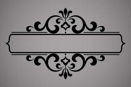 Vintage black element. Graphic design. Damask graphic ornament.