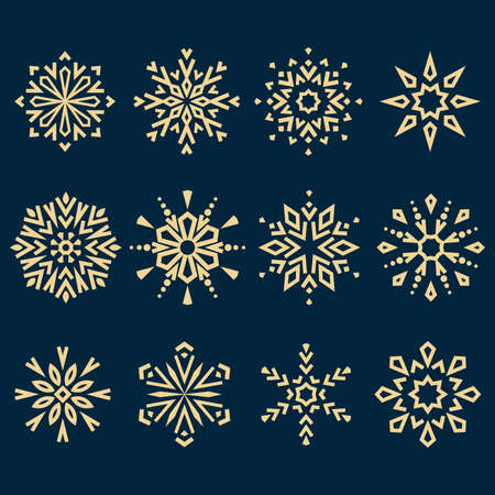 Snowflakes icon collection. Graphic modern gold and dark blue ornament Stockfoto