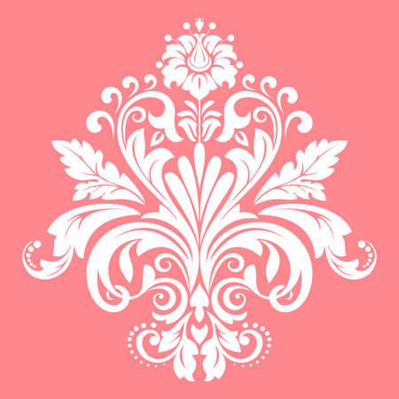Damask graphic ornament. Floral design element. Pink pattern Фото со стока