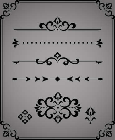 Vintage set. Floral elements for design monograms, invitations, frames, menus and labels. Graphic design of the website, cafes, boutiques, hotels, wedding invitations. Zdjęcie Seryjne