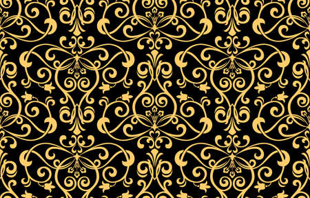 Wallpaper in the style of Baroque. Seamless vector background. Gold and black floral ornament. Graphic pattern for fabric, wallpaper, packaging. Ornate Damask flower ornament Standard-Bild - 134830109