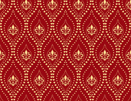 Floral pattern with llilies, dots. Vintage wallpaper in the Baroque style. Seamless vector background. Red and gold ornament for fabric, wallpaper, packaging. Ornate Damask flower ornament Standard-Bild - 134830655