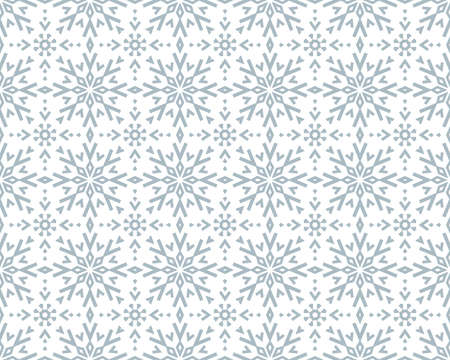 Abstract geometric pattern with lines, snowflakes. A seamless vector background. White and blue texture. Graphic modern pattern Ilustracja