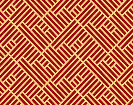 Abstract geometric pattern with stripes, lines. Seamless vector background. Gold and red ornament. Simple lattice graphic design 版權商用圖片 - 134810410