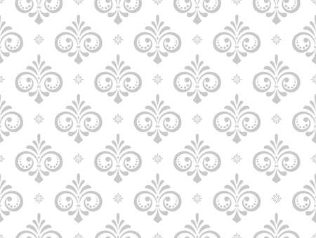 Wallpaper in the style of Baroque. Seamless vector background. White and grey floral ornament. Graphic pattern for fabric, wallpaper, packaging. Ornate Damask flower ornament. Standard-Bild - 134830661