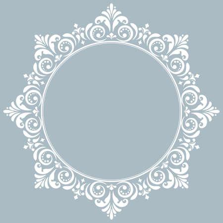 Cornice decorativa Elemento elegante per il design in stile orientale, posto per il testo. Bordo floreale blu. Illustrazione di pizzo per inviti e biglietti di auguri
