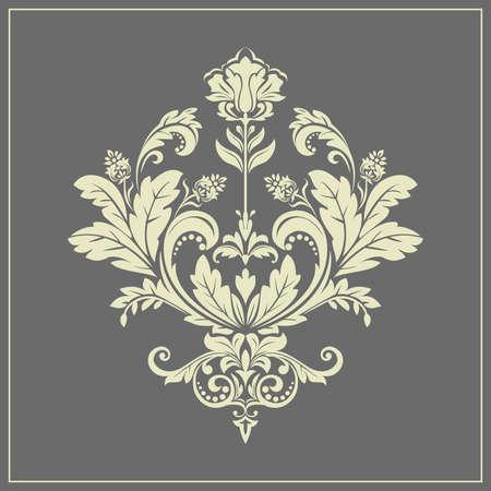 Damask graphic ornament. Floral design element. Grey vector pattern