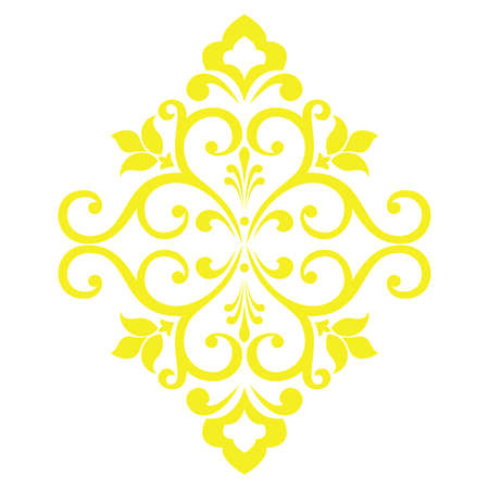 Damask graphic ornament. Floral design element. Yellow vector pattern Ilustrace
