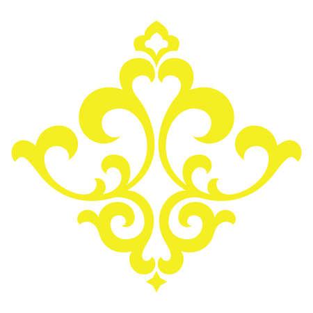 Damask graphic ornament. Floral design element. Yellow vector pattern Banque d'images - 138389547