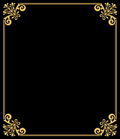 Decorative frame Elegant vector element for design in Eastern style, place for text. Floral golden border. Lace illustration for invitations and greeting cards.