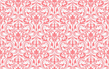 Floral pattern. Vintage wallpaper in the Baroque style. Seamless vector background. White and pink ornament for fabric, wallpaper, packaging. Ornate Damask flower ornament  イラスト・ベクター素材