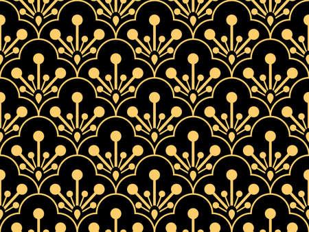 Patrón geométrico de flores. Fondo de vector transparente. Adorno dorado y negro