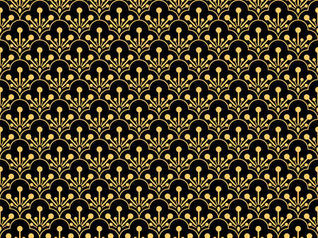 Flower pattern. Seamless gold and black ornament. Graphic vector background. Ornament for fabric, wallpaper, packaging  イラスト・ベクター素材