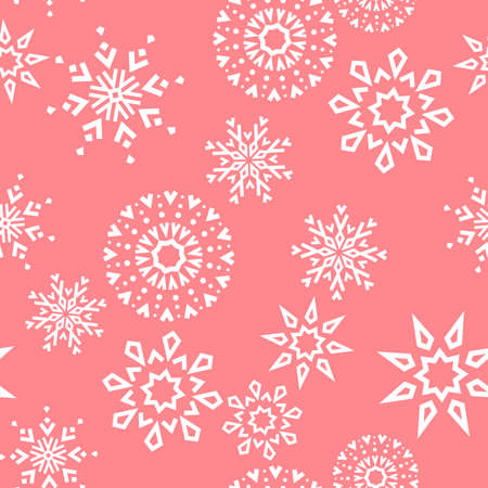 Abstract geometric pattern with lines, snowflakes. A seamless background. White and pink texture. Graphic modern pattern Zdjęcie Seryjne