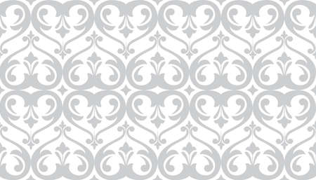 Wallpaper in the style of Baroque. Seamless background. White and grey floral ornament. Graphic pattern for fabric, wallpaper, packaging. Ornate Damask flower ornament. Zdjęcie Seryjne