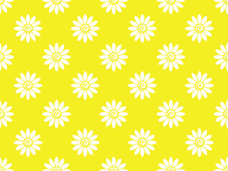 Flower geometric pattern. Seamless background. White and yellow ornament. Ornament for fabric, wallpaper, packaging. Decorative print Zdjęcie Seryjne