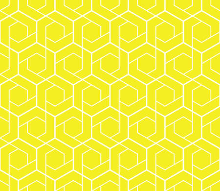 The geometric pattern with lines. Seamless background. White and yellow texture. Graphic modern pattern. Simple lattice graphic design Zdjęcie Seryjne