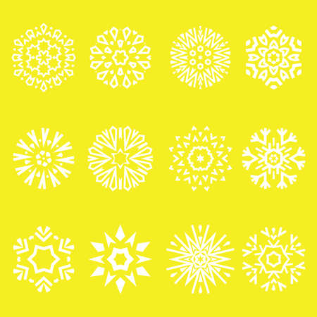 Snowflakes icon collection. Graphic modern yellow ornament Ilustracja